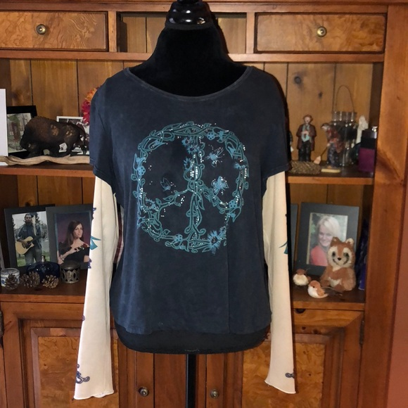 Style & Co Tops - Style & Co Distressed blue boho peace top